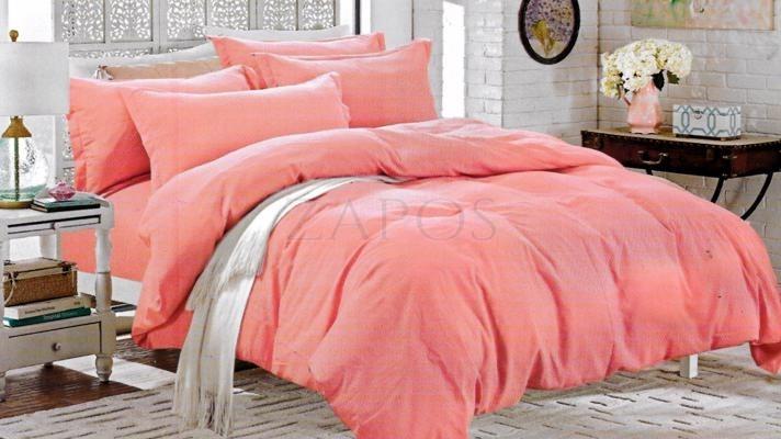 Lenjerie pat 2 persoane BUMBAC SATINAT - 4 piese - Roz, culoare uni ZAP-1001-30.1