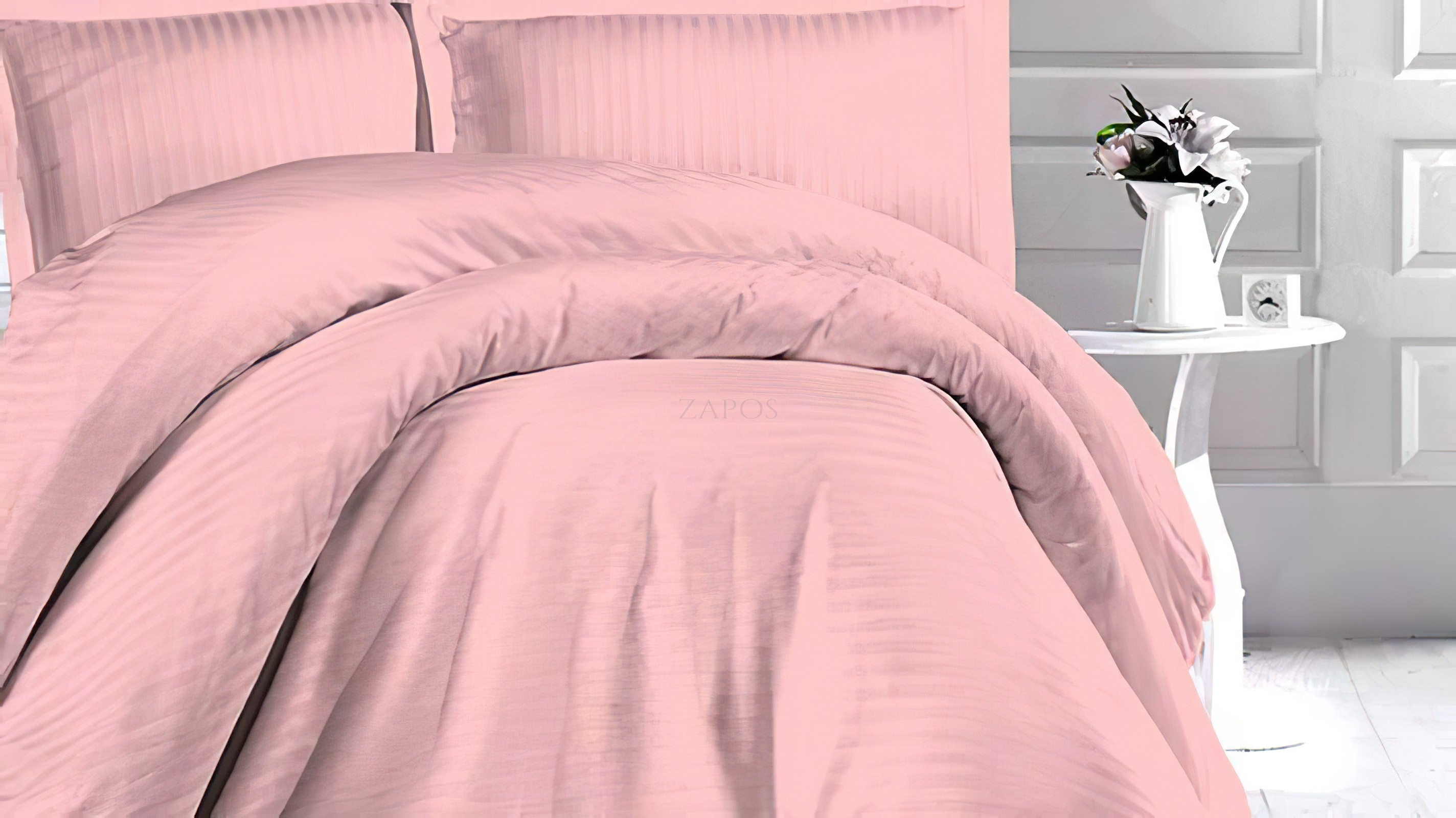 Lenjerie pat 1 persoana DAMASC SATIN - 3 piese - Roz pal, culoare uni