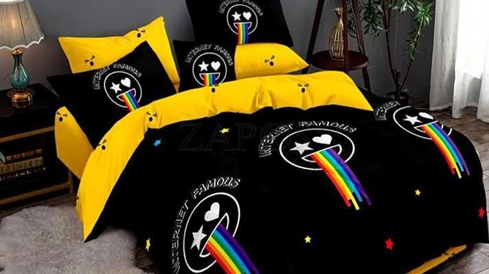 Lenjerie pat 2 persoane BUMBAC FINET - 6 piese - Negru, model fete zambitoare si curcubeu si imprimeu interior galben