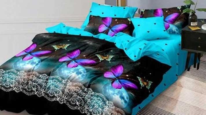Lenjerie pat 2 persoane BUMBAC FINET - 6 piese - Negru, model fluturi colorati si imprimeu interior turcoaz