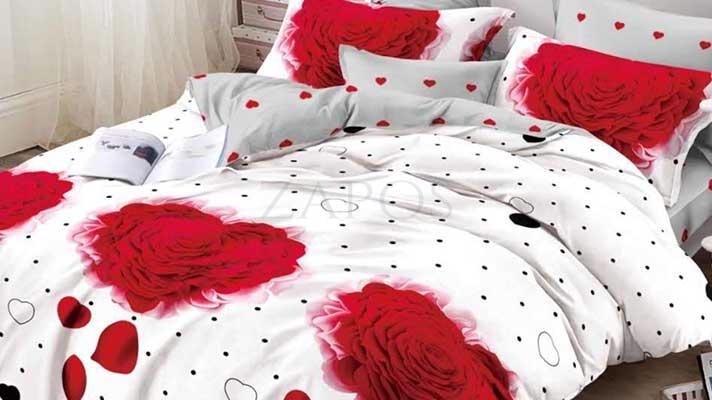 Lenjerie pat 2 persoane BUMBAC FINET - 6 piese - Alb, model trandafiri, inimi si imprimeu cu buline