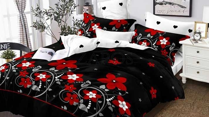 Lenjerie pat 2 persoane BUMBAC FINET - 6 piese - Negru, model flori rosii si imprimeu interior alb