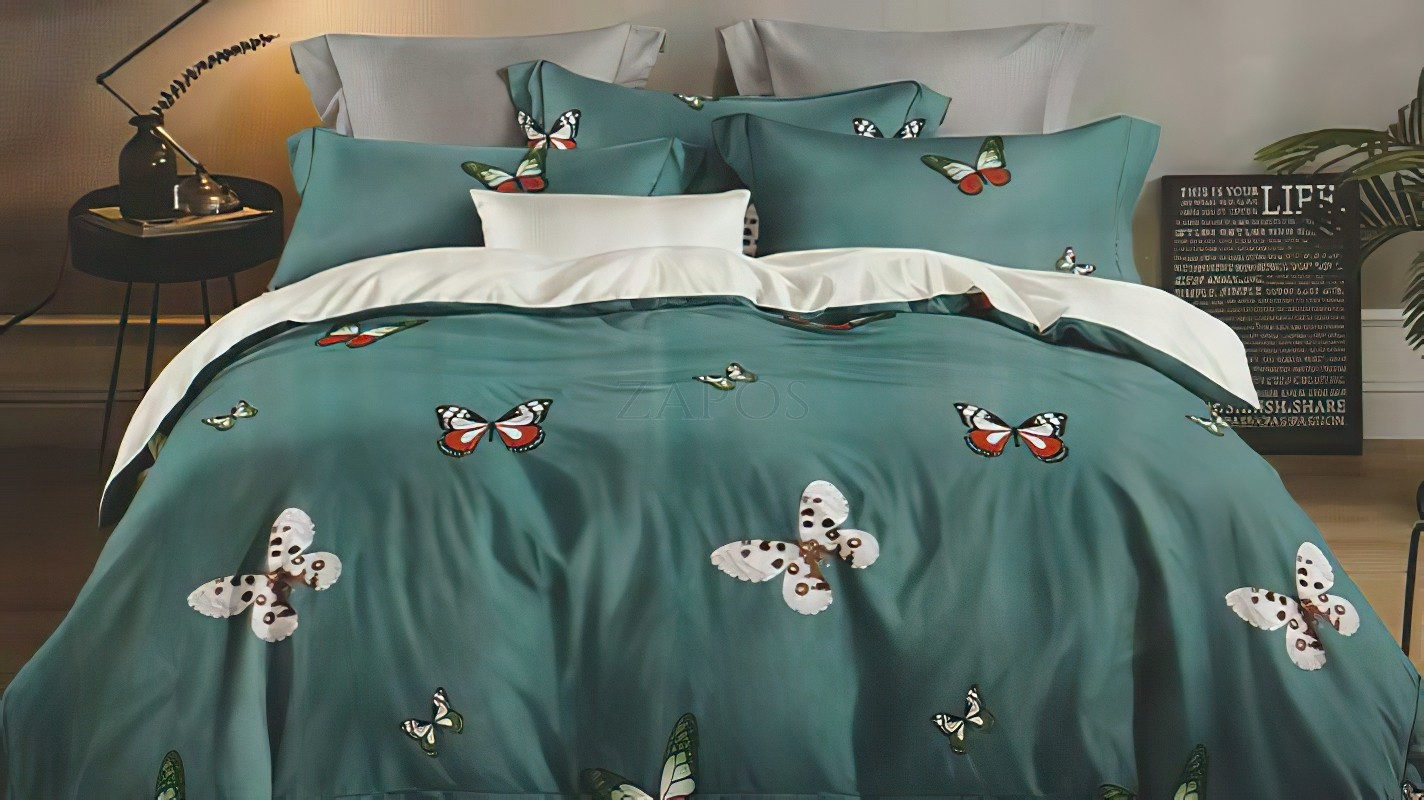 Lenjerie pat 2 persoane FINET - 6 piese - Verde inchis, model fluturi colorati