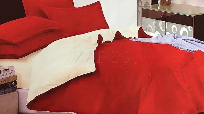 Lenjerie pat 2 persoane FINET - 4 piese - Rosu, culoare uni 2 fete