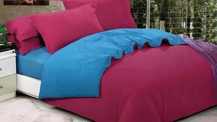 Lenjerie pat 2 persoane FINET - 4 piese - Fucsia, culoare uni 2 fete ZAP-1002-5011