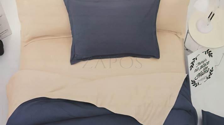 Lenjerie pat 2 persoane FINET - 4 piese - Bleumarin, culoare uni 2 fete ZAP-1002-5009