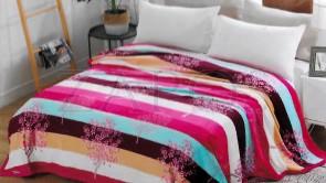 Lenjerie pat 2 persoane COCOLINO - 4 piese - Roz, model cu dungi late colorate si flori de piersic ZAP-1008-11