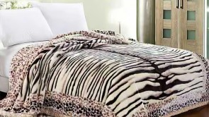 Patura 2 persoane COCOLINO - Animal print, zebra si leopard