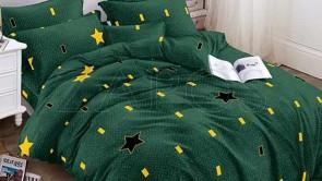 Lenjerie pat 2 persoane 60% BUMBAC - 4 piese - Verde, model stele si patrate galbene si negre