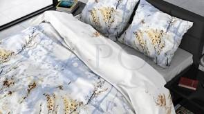 Lenjerie pat 2 persoane BUMBAC SATINAT - 3 piese - Bleu, model spice de grau pe fundal de cer-200 x 220