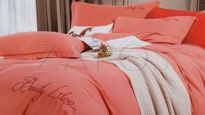 Lenjerie pat 2 persoane BUMBAC SATINAT - 4 piese - Roz somon, culoare uni ZAP-1013-90