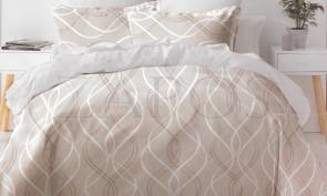 Lenjerie pat 2 persoane 60% BUMBAC - 4 piese - Bej, model linii verticale ondulate care se impletesc