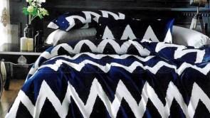Lenjerie pat 2 persoane COCOLINO - 4 piese - Bleumarin, imprimeu linii albe zig zag ZAP-1008-1