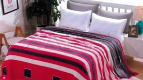 Lenjerie pat 2 persoane COCOLINO - 4 piese - Rosu, model linii orizontale alb si negru ZAP-1008-4