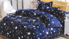 Lenjerie pat 2 persoane COCOLINO - 4 piese - Bleumarin, model stele in galaxie ZAP-1008-10