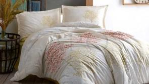 Lenjerie pat 2 persoane BUMBAC RANFORCE - 4 piese - Crem, model cu pomi colorati de toamna