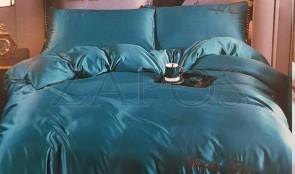 Lenjerie pat 2 persoane BUMBAC SATINAT - 4 piese - Albastru, culoare uni si text ZAP-1018-30