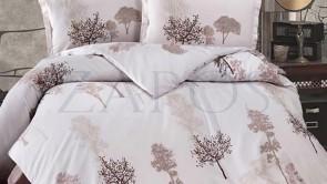 Lenjerie pat 2 persoane BUMBAC SATINAT - 4 piese - Bej, model copaci in nuante de maro