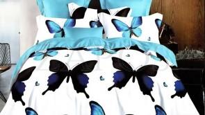 Lenjerie pat 2 persoane BUMBAC FINET - 6 piese - Alb, model fluturi mari albastri