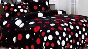 Lenjerie pat 2 persoane COCOLINO - 4 piese - Negru, model buline albe si rosii