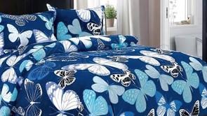 Lenjerie pat 2 persoane COCOLINO - 4 piese - Albastru, mdeol fluturi mari in nuante de bleu