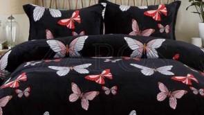 Lenjerie pat 2 persoane COCOLINO - 4 piese - Negru, model fluturi in nuante de roz