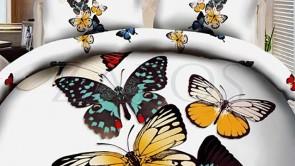 Lenjerie pat 2 persoane COCOLINO - 4 piese - Negru, model fluturi albi