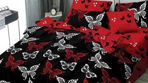 Lenjerie pat 2 persoane COCOLINO - 4 piese - Negru, model 2 fete fluturi conturati cu alb si negru