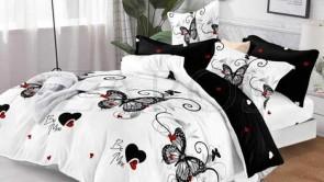 Lenjerie pat 2 persoane COCOLINO - 4 piese - Alb, model fluturi negri si inimi si imprimeu interior negru