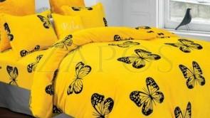 Lenjerie pat 2 persoane COCOLINO - 4 piese - Galben, model cu fluturi conturati cu negru
