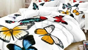 Lenjerie pat 2 persoane COCOLINO - 4 piese - Alb, model fluturi mari colorati