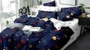 Lenjerie pat 2 persoane COCOLINO - 4 piese - Bleumarin, model elemente cosmice colorate si imprimeu interior alb