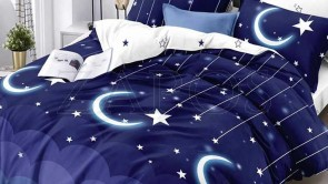 Lenjerie pat 2 persoane COCOLINO - 4 piese - Bleumarin, model stele si luna si imprimeu interior alb