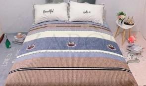 Cuvertura pat dublu CATIFEA PLUSATA - Maro, model cu dungi orizontale diferite culori-1