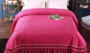 Cuvertura pat dublu CATIFEA PLUSATA - Fucsia, culoare uni cu volan in partea de jos-1