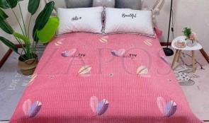 Cuvertura pat dublu CATIFEA PLUSATA - Roz, model frunze colorate-1