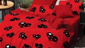 Lenjerie pat 2 persoane 60% BUMBAC - 4 piese - Rosu, model inimi diferite marimi si imprimeu cu buline