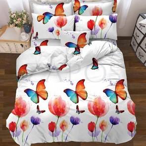 Lenjerie pat 2 persoane BUMBAC - 4 piese - Alb, model fluturi in camp de lalele