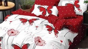 Lenjerie pat 2 persoane 60% BUMBAC - 4 piese - Rosu, model inimi negre cu aripi