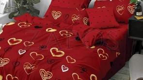Lenjerie pat 2 persoane 60% BUMBAC - 4 piese - Rosu, model inimi galbene si buline
