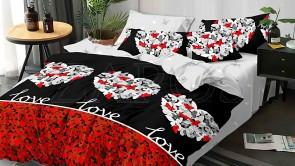 "Lenjerie pat 2 persoane 60% BUMBAC - 4 piese - Negru, model ""love"" fluturi in forma de inima"
