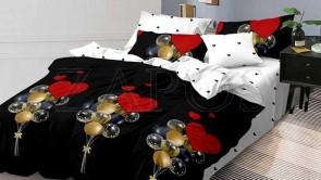 Lenjerie pat 2 persoane 60% BUMBAC - 4 piese - Negru, model baloane si imprimeu interior alb