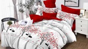 Lenjerie pat 2 persoane 60% BUMBAC - 4 piese - Alb, model cuplu de lebede si pomi si imprimeu interior rosu