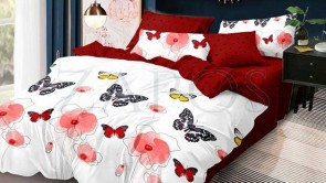 Lenjerie pat 2 persoane 60% BUMBAC - 4 piese - Alb, model flori pictate si fluturi colorati