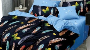 Lenjerie pat 2 persoane 60% BUMBAC - 4 piese - Bleumarin, model pene colorate si imprimeu interior bleu