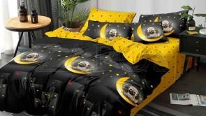 Lenjerie pat 2 persoane 60% BUMBAC - 4 piese - Negru, model oras pe timp de noapte si catel