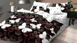 Lenjerie pat 2 persoane 60% BUMBAC - 4 piese - Negru, model elemente colorate si fluturi albi si imprimeu interior
