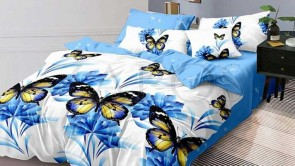 Lenjerie pat 2 persoane 60% BUMBAC - 4 piese - Alb, model flori si fluturi si imprimeu interior bleu