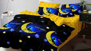 Lenjerie pat 2 persoane 60% BUMBAC - 4 piese - Negru, model copil pe luna si imprimeu interior galben