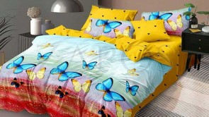 Lenjerie pat 2 persoane 60% BUMBAC - 4 piese - Galben, model culori in degrade si fluturi